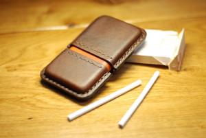 Slim cigarettes case, custom men's leather tobacco holder, smoking accessory, husband gift