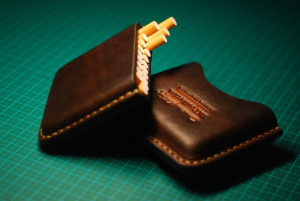 Leather cigarette case, men's cigar pouch, smoking accessories, engraved tobacco holder