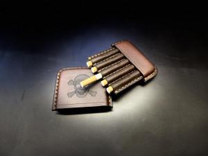 Leather cigarette case, engraved cigar holder, men's travel tobacco box, custom husband gift