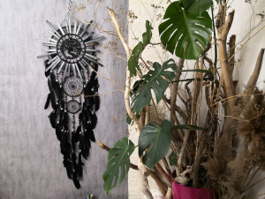 Black large Dream catcher wall hanging boho decor, Gift for Couple, New house gift, Housewarming Gift, Hug Dad Christmas Gift, Dad Gift Idea