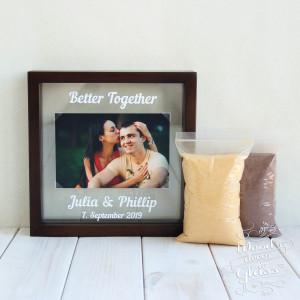 Wedding Sand Ceremony Photo Frame With Sand - Unity Sand Ceremony With Sand - Photo Frame For Sand Ceremony - Wedding Gift-Sand Ceremony Box
