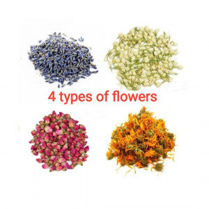 4 types of flowers, Total 400g(14.10oz.) of different dried flowers, Edible Tea Lavender Rose Calendula Jasmine flowers