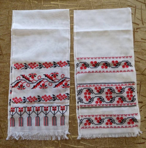 Lot of 2 Hand embroidered Ukrainian towel Rushnyk embroidery art red colors new