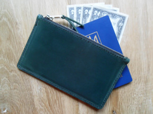 Green leather passport bag with zipper Women clutch bag Travel handbag Leather clutch purse Men leather handbag Money pouch Passport clutch