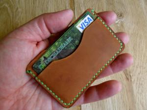 Brown leather card holder best gift groomsman Slim front pocket wallet Men's minimalist cardholder Leather card wallet Hand sewn card case