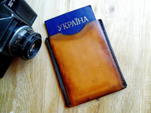 Sleeve passport cover brown leather on vintage style leather travel passport case holder leather passport protector Travel documents holder
