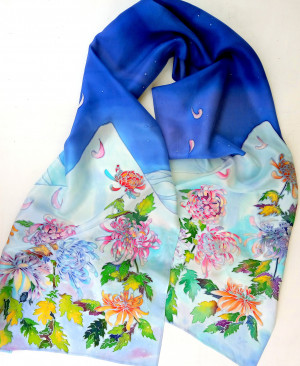 Chrysanthemum silk hair scarf, Hand painted silk scarf, Long scarf, Spring scarf, Trendy scarf, Batik, Satin scarf, Mother's day outfit