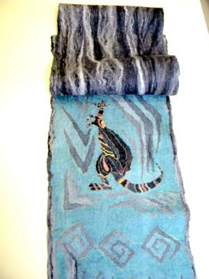 Kangaroo scarf Grey long scarf silk Nuno felt scarf Unisex Warm men's Neck warmer Merino wool Winter scarf Dad gift for him