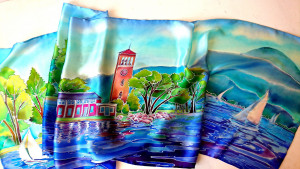 Landscape painting countryside Hand painted silk scarf Long Handmade silk scarf Silk head scarf Custom painting on silk nature inspired gift