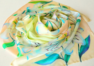 Lily scarf White silk bridal shawl shawl Floral Silk scarf with lilies Wedding shawl Hand painted scarves Silk Gifts for mom husband to wife