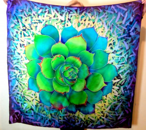 Head scarf Large Shawl Square scarf Hand painted silk Handpainted silk Cactus scarf Succulents shawl Summer cover up Gift for girlfriend