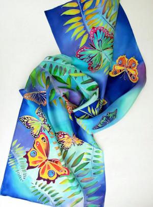 Butterfly wings silk scarf Fantasy shawl Batik Satin scarf Silk hair scarf Hand painted silk scarf Mom gift
