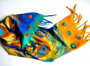 Orange scarf Phoenix bird Felted winter scarf merino scarf Hand painted scarf Wool silk scarves Unisex wool scarf Xmas gift Boyfriend gift