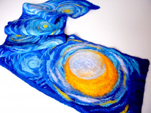 Blue scarf Van Gogh scarf Art scarf Painting on silk Starry night Felted winter scarf Unisex wool scarf Christmas Present for best friend