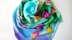 Tulip silk scarf Handmade silk scarf Silk hair scarf Flowers silk scarf Hand painted silk scarf Trendy scarf Silk head scarf Mother day gift