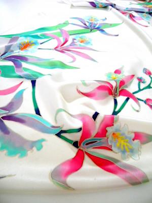 Pink orchid painting White bridal shawl silk scarf Batik Satin scarf Silk hair scarf Flowers silk scarf Hand painted silk scarf Mom gift