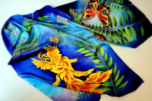 Fantasy silk scarf Firebird art Blue large shawl Butterfly scarf Painting on silk Floral silk scarf Long silk scarf Bridesmaid scarf