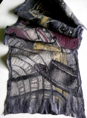Jazz scarf Grey warm scarf Felted Silk wool shawl Large wool scarf Hand painted silk Felted winter scarf Wool silk scarves Mom birthday gift