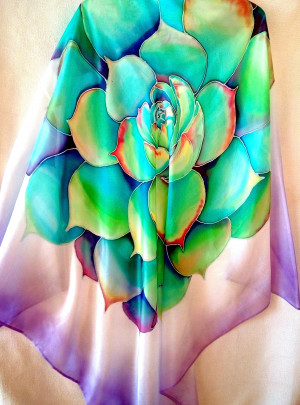 Echeveria painting Hand painted silk Cactus scarf Large Shawl Square silk Hand painted scarf Head scarf Summer cover up Gift for girlfriend