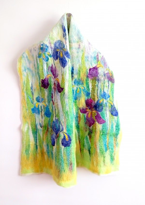 Silk wool shawl Felted wrap Warm Large wool scarf Hand painted silk Winter scarf Watercolor silk Mom birthday gift xmas gift for her