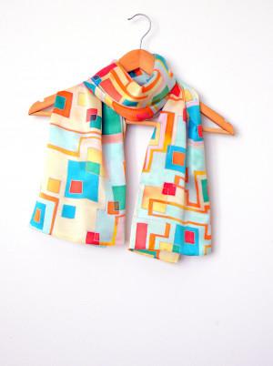Geometric scarf Mod scarf Silk hair scarf Hand painted silk scarf Long scarf Trendy scarf Batik Satin scarf Silk Mother's day outfit