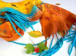 Felt wool shawl Orange blue scarf Large wool scarf Handpainted silk Felted winter scarf Boho festival outfit Wool silk scarves Xmas gift