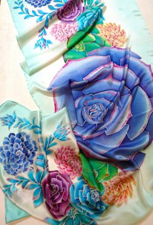 Echeveria succulent blue Rose succulent Boho festival shawl Silk hair scarf Flowers silk scarf Hand painted silk scarf succulent watercolor