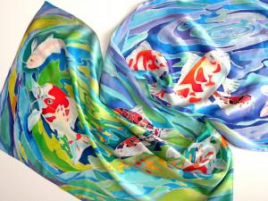 Japanese koi fish Long silk scarf Handmade silk scarf Koi art Trendy scarf Orange koi fish Hand painted silk scarf Silk head Designer scarf