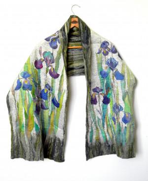 Blue flowers shawl Silk wool shawl Felted wrap Large wool scarf Hand painted silk Felted winter scarf Wool silk scarves Mom birthday gift