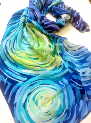 Blue silk scarf Starry sky scarf Vincent Van Gogh Handpainted silk Hand painted scarves Spring fashion Gifts for mom from husband to wife