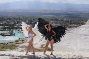 White angel wings, black wings, angel black and white, angel wings cosplay costume