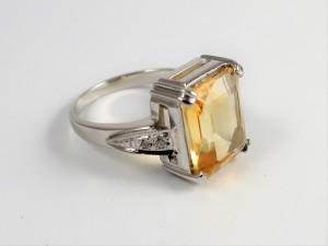 Natural Citrine Ring Sterling silver. Estate citrine ring. Birthday gift November Birthstone. Gemstone statement signet ring