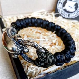 Black Paracord bracelet ALIEN. Biker bangle. Viking style. Scandinavian jewelry.