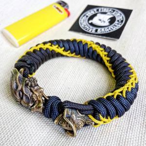 "Paracord bracelet with beads ""PREDATOR and GLADIATOR"". Men's style, a gift for tough men. Biker bracelet."