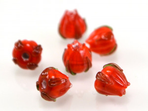 Red Lampwork glass beads set 6pcs, Small floral beads for jewelry making, 8mm glass beads, Floral lampwork
