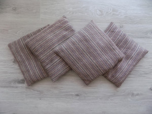 Set of 4 Chair Cushions, Woven Pads, Light Violet and Beige Chair Pads, Little Pads, Saddle Pads,Scandinavian Seat Cushion, Stool Cushion