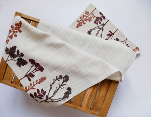 Linen Table Runner with Plants, Large Kitchen Towels, Kitchen Decor, Table Linens, Ecofriendly Farmhouse Decor, Botanical Print, Napkins