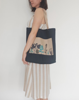 Eco Bag with Botanical Print, Textile Market Bag with Plants, Eco-friendly Shopper, Vegan Accessories, Tote, Green and Gray Ecobags
