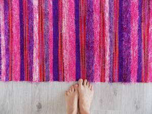 Pink and Violet Handwoven Runner Rug, Striped Rug for Childroom, Bedroom Mat, Kitchen Decor, Rag Rug, Fluffy Carpet, Scandinavian rug