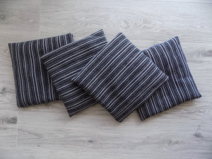Set of 4 Handwoven Seat Cushions in Gray shades Chair Pads Little Pads Woven Saddle Cover Stool Cushion Home Decor Weaving Hostes Gifts