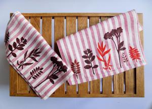 Set of 2 Kitchen Towels With Botanical Pattern Hand Print Eco Set Cotton Linen Striped Napkin Tea Towels Decorative Dish Cloth Herbal Print