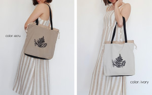 Tote Bag With Fern, Botanical Print in Cotton, Market Bags with Black Fern, Eco-friendly Shopping, Exclusive Bag, Vegan Eco Bag, Ecobags