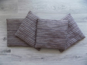 Set of 4 Chair Cushions, Woven Pads, Light Violet and Beige Chair Pads, Handwoven Saddle, Scandinavian Seat Cushion, Stool Cushion