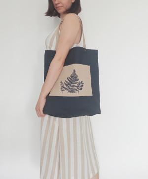 Eco Bag With Fern Print, Green and Gray Market Bag, Eco-friendly Shopper, Vegan Accessories, Textile Tote, Coastal Bag, Beach Ecobag