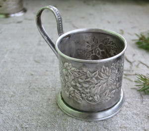 Antique 50's silver plated tea glass-holder from the USSR/ Soviet Melchior/ Podstakannik