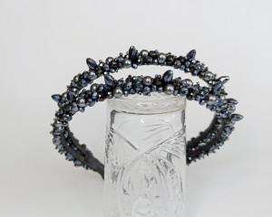 Pearl jeweled headband, Crystal headpiece for bride, Black crystal tiara, Bride double headband, Branch headpiece, Bridal hair piece