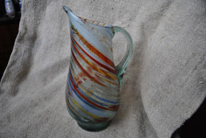Murano style glass jug, Vintage multi-colored glass jug from the USSR