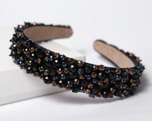 Black wide jeweled headband for women Bronze bridal headband Crystal bridal shower crown Black crystal tiara