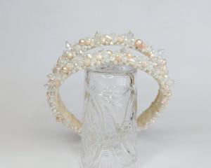 Bride jeweled headband, Pearl headpiece for bride, Bridal hair piece, Branch headpiece, Crystal headpiece, bridal diadem, crystal tiara