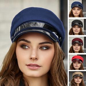 Elegant greek fisherman cap navy Baker boy hat Vegan newsboy cap Military visor hat